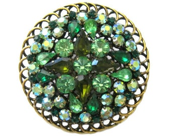 Large Vintage Green Rhinestone Pendant Brooch Pin