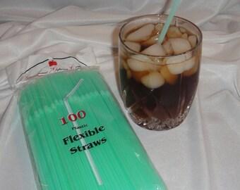 100 Straws - Flex / Flexible Drinking Straws - Pale Green - Luau - Wedding - Party supplies - Flexible Straws