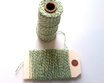 Green & White 12 Ply Bakers Twine - 10 Yards for packaging, artwork, collage, assemblage Valentines Day Decor