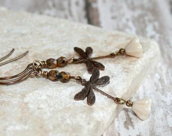 Beige flower earrings, Dragonfly Earrings // Vintaj brass dragonfly dangle earrings // Woodland Jewelry // Rustic