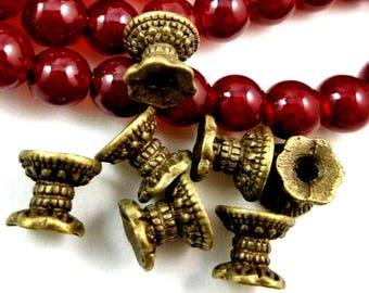 20 Double bead caps antique bronze spacer beads jewelry making bead caps 9.5mm x 8mm jewelry making supplies HP648 (Y6),