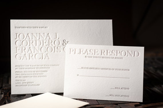 Letterpress wedding invitation letterpress rsvp card stopboris Image collections