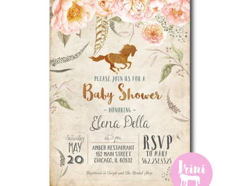 Vintage car baby shower invitation antique horse baby shower equestrian peach pink gold rose baby shower peach glitter gold filmwisefo Gallery