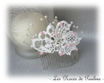"""Ivory wedding hair comb rose lace Lucille """"Textiles"""""""