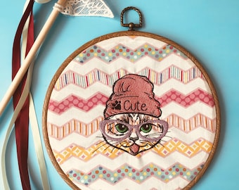 Handmade Cool Cat embroidery (10 inch diameter)