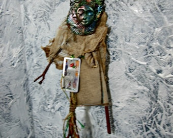 Art Doll, OOAK Talisman Doll, Spirit Doll, Healing Doll, Handmade Twig Doll, Sculpted Clay Face - Wall Art Doll
