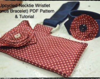 PDF Sewing Pattern and Tutorial for Upcycled Recycled Repurposed Necktie Wristlet Purse Bonus Bracelet Cuff for Women Instand Download