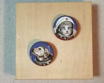 Soviet Space Cat & Dog pin buttons