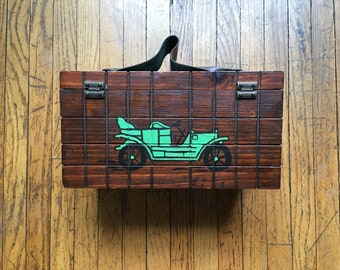 Unique Antique Car Wood Box Purse, Vintage Handbag, Novelty Purse, 70's Hand-Painted Box Purse