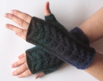 Fingerless Gloves Dark Blue Brown Green Arm Warmers Knit Soft