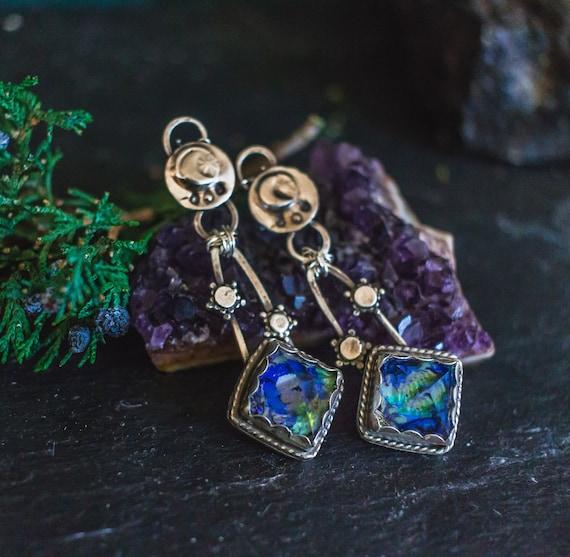 OOAK Boho earrings,  Silver Earrings, Opal Earrings, Moon and Stars Earrings, Raw Crystal Earrings, Pyramid earrings