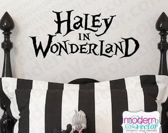 Alice in Wonderland Personalized Name Vinyl Wall Decal Sticker Decor Nursery Movie Inspired Custom Design