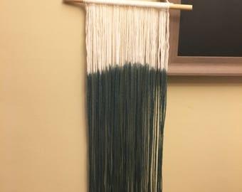 Dip Dye Wool Wall Hanging-Solid Dark Green