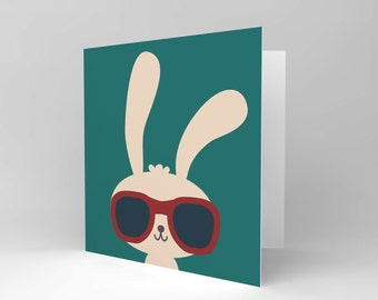 Easter Card / Bunny Card / Birthday Card / Kids Card / Childrens / Cool Sunglasses CS031