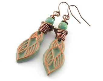 Handmade Sage Green and Copper Earrings, Polymer Clay Earrings, Copper Earrings, Lightweight Earrings, Boho Earrings, Sage Earrings, AE051