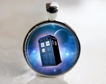 Tardis in  Space -  Dr. Who Pendant, Necklace or Key Chain - Choice of 4 Bezel Colors