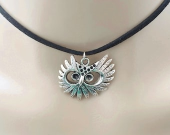 silver owl choker - owl jewellery - owl gift for friend partner sister - faux suede choker