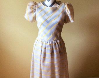 Vintage silk dress/ 1960s/1970s striped dress