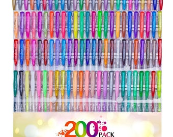 200pc set 100 Gel Pens Set + 100 Refills Non Toxic & Acid Free Ideal for Coloring Books  USA Seller with Fast Shipping