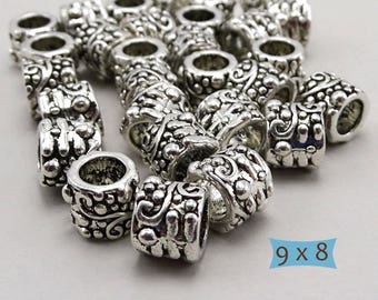 Large Hole Lead Free Patterned Pewter Beads—10 Pcs. | 24-SU130-10