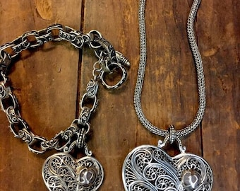 Sterling Silver  Jewelry Set Necklace & Bracelet Mexico