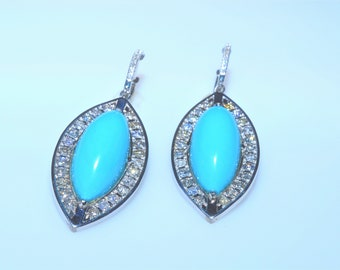 Cabochon Marquise Turquoise Diamonds Chandelier earrings  in 14k White gold. Babbief Collection by PopularGemsMiami.