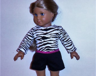 Zebra Print Leotard, 18 Inch Doll, Gymnastics, Dancewear, Black Cotton Shorts, American Made, Girl Doll Clothes