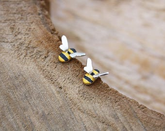 Handmade enamelled bee studs, silver earrings, mothers day present, bridesmaids jewellery