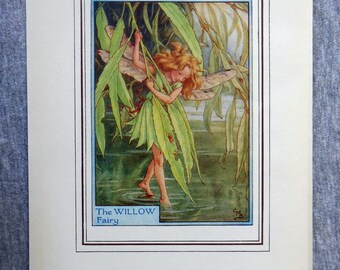 Willow Tree Flower Fairy Vintage Print, c.1950 Cicely Mary Barker Book Plate Illustration