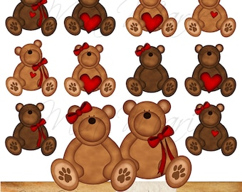INSTANT DOWNLOAD - Digital Clip Art - Teddy Bear Clip Art, Teddy Bear Clipart, Bear Clip Art, Bear Clipart - Heart, Ribbon, Brown, Red - CU