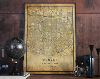 Denver map | Etsy