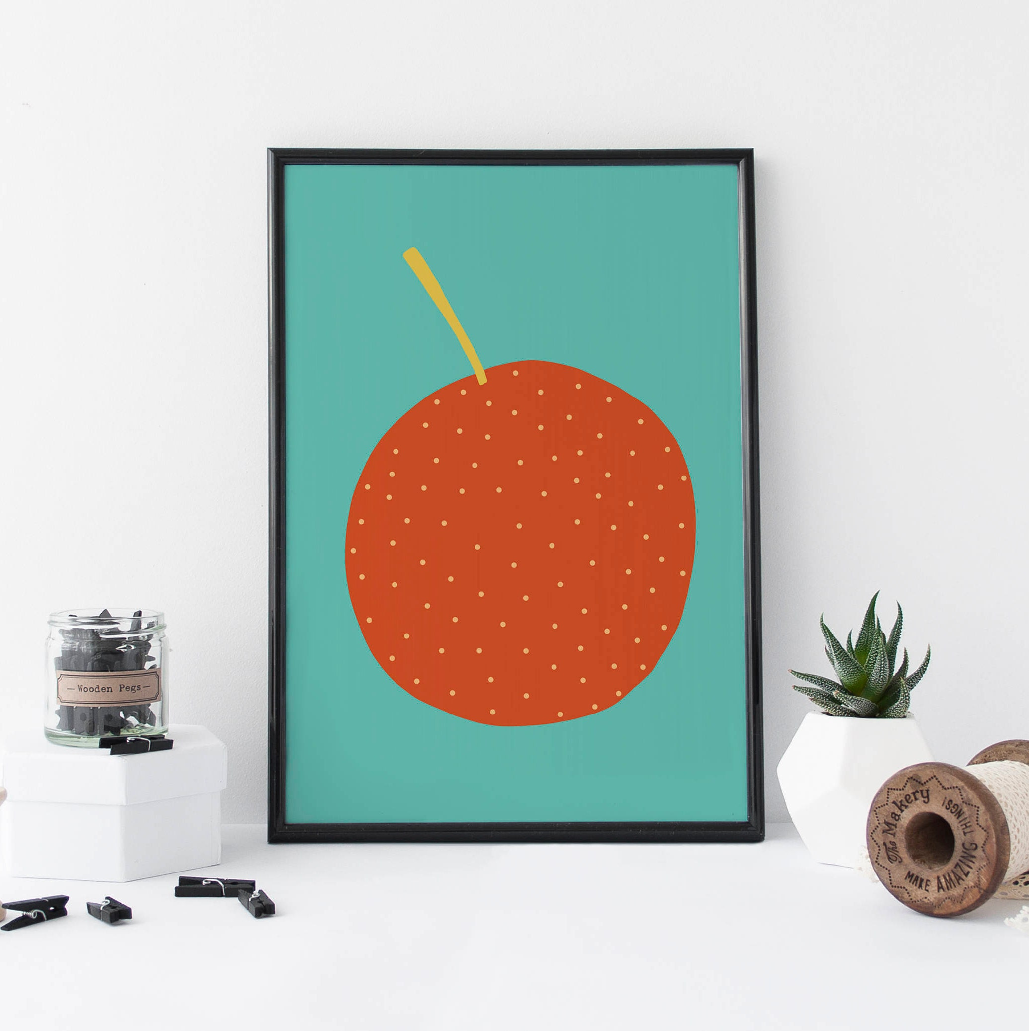 Orange Print Kitchen Art Fruit Print Gift For Her Food