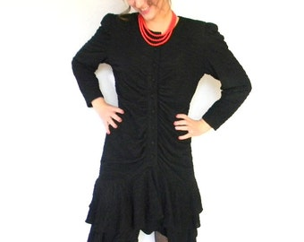70s Crinkle Dress. Chirstmas New Year. Little Black Dress. New Years Eve. Vintage Cocktail  Dress. Mad Men Fashion. Medium. Black Red.