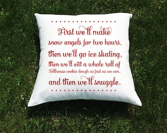 "Elf Christmas Movie Throw Pillow Cover - Will Ferrell as Buddy the Elf - ""And Then We'll Snuggle"" Quote"