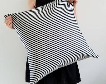Railroad Stripe Denim Pillow - Denim Pillow - Home Decor - Blue Pillow - Hygge - Blue Stripe