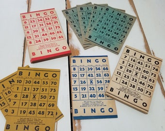 30 assorted vintage Bingo cards for altered art and crafts GREAT COLORS 1950s