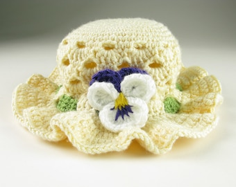 Crochet Baby Hat Pansy Easter Bonnet Toddler Digital Download PDF Crochet Pattern