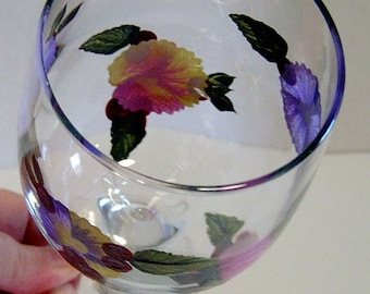 Pansy Wine Glass Hand Painted