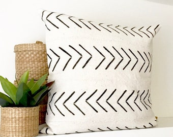 19x19 Mud Cloth Pillow Cover | Cream and Black Mud Cloth Pillow