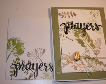 Sympathy, encouragement or support note card, earth tones, leaves and PRAYERS, free shipping