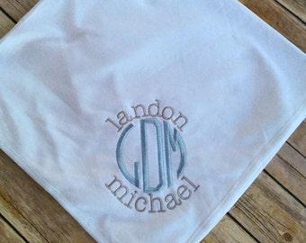 Monogrammed Baby Blanket, Personalized Recieving Blanket, Monogrammed Newborn Blanket, Baby Shower Gift, Baby Keepsake, New Baby Gift