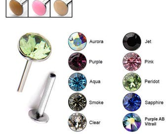 "316L Surgical Steel Labret Style Nose Stud Monroe Ring Threadless Push Pin 2.5mm Gem 1/4"" 5/16"" 3/8"" 20G 18G 16G"