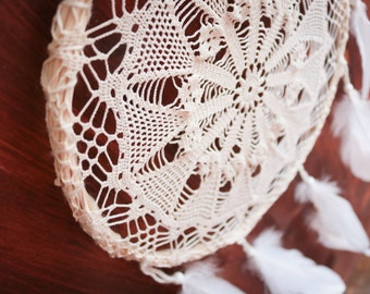 Dream Catcher - Magic Field - With White Crochet Web and Pure White Feathers - Boho Home Decor, Nursery Mobile