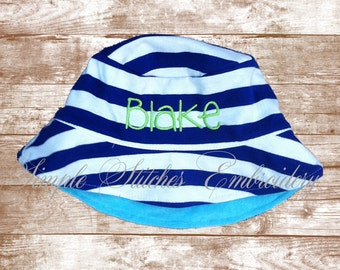 Monogrammed Infant/Toddler Bucket Hat, Summer Hat, Personalized Hat