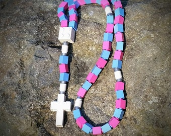 Rosary Made with Lego® Bricks - Pink, and Blue, Catholic  Rosary