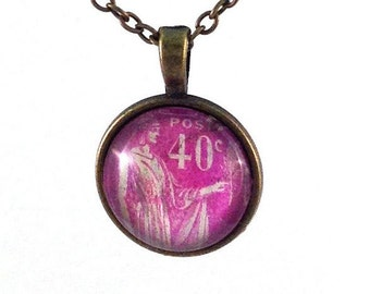 1933 Pink French Stamp - Postage Stamp Jewelry - Vintage Postage Stamp Necklace - Antique Bronze Finish