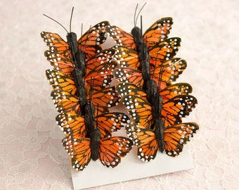 Feather Butterflies 12 Monarch Traditional Orange Bird Feather Butterflies 1.5 Inch Wingspan / Small Mini Size Butterfly / Cake Toppers