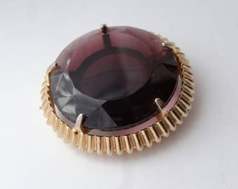 Large Faceted Purple Amethyst Gold Tone Brooch Pin Vintage