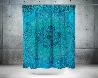 Mandala Shower Curtain,Boho Shower Curtain,Boho Decor,Hippie Shower Curtain,Bohemian Curtain,Bathroom Decor,Boho Chic,Teal Shower Curtains