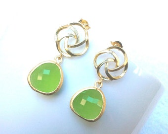 Pinwheel with Peridot Opal Gold Drop Earrings, Dangle earrings, wedding Earrings,Love Knot